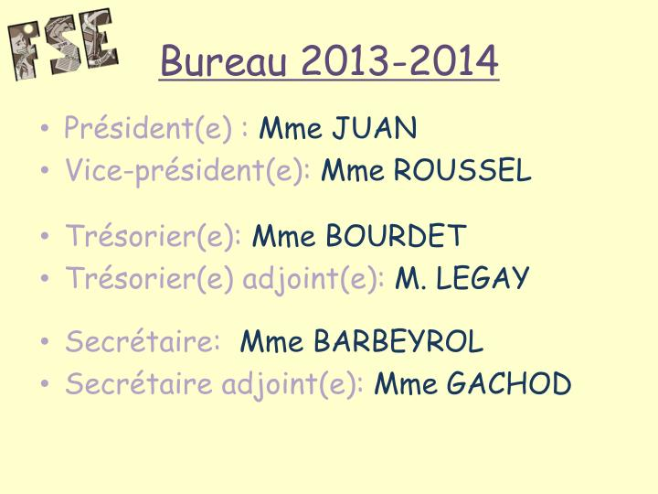 Bureau 2013-2014