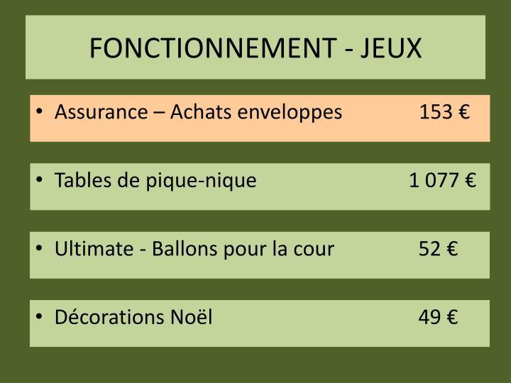 FONCTIONNEMENT - JEUX