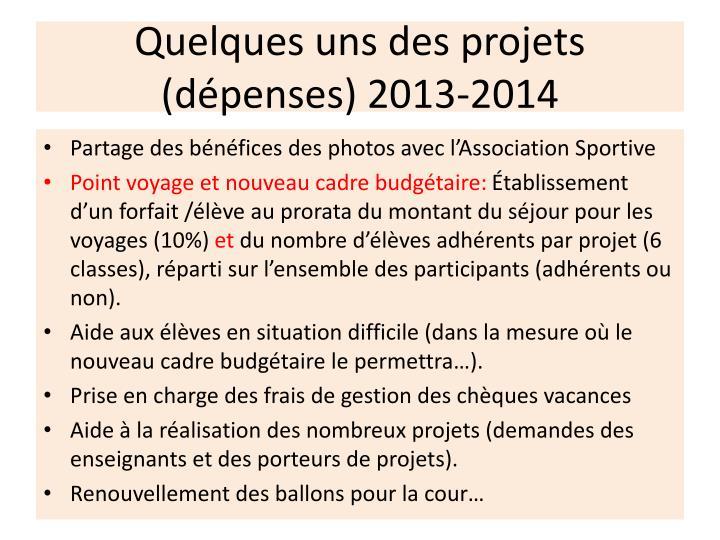 Quelques uns des projets (dépenses) 2013-2014