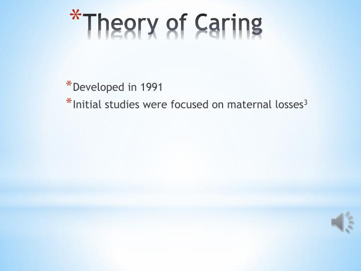 examining swansons theory of caring essay Supported by swanson's (1991) theory of caring and locsin's (2005) theory of technological competency as caring in nursing, instructional strategies that could be employed by a nurse educator to foster and.