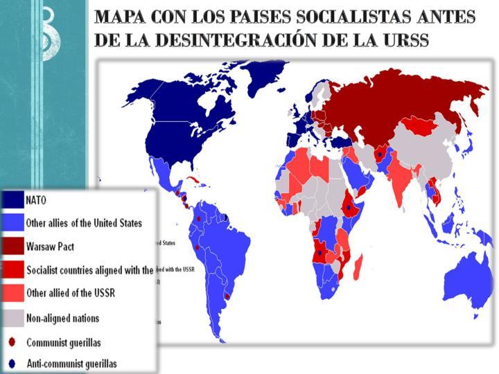 Mapa con los paises socialistas antes de la desintegraci n de la urss