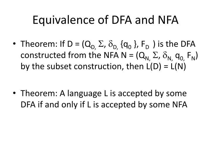 Equivalence of DFA and NFA