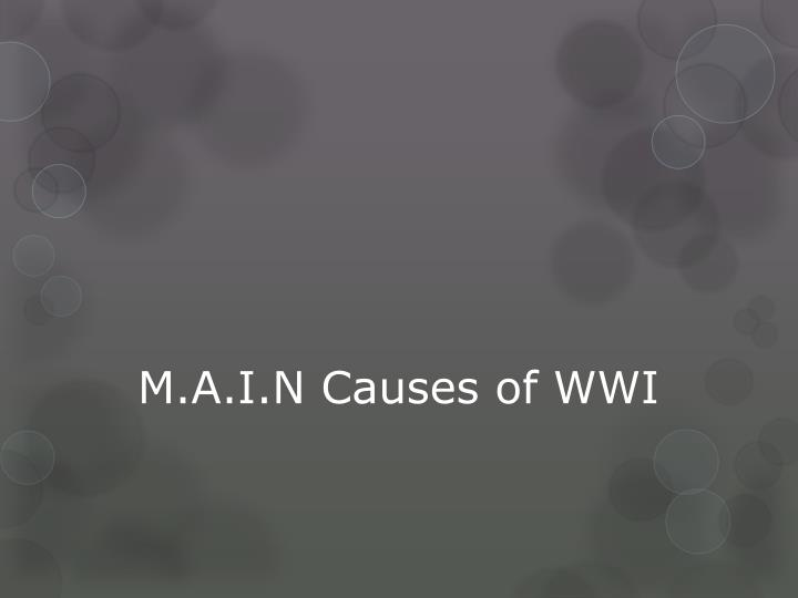 M a i n causes of wwi
