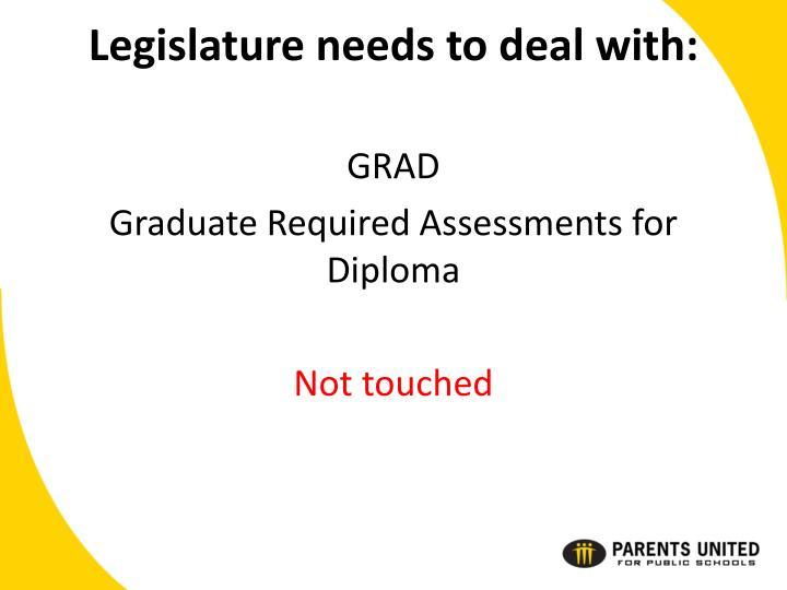 Legislature needs to deal with: