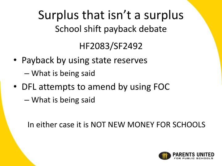 Surplus that isn't a surplus