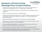 summary of focus group meetings prior to interventions