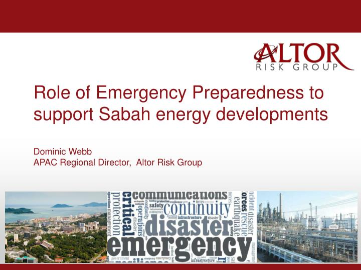 Role of Emergency Preparedness to s
