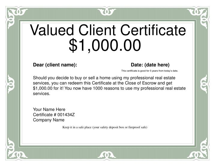 Valued Client Certificate