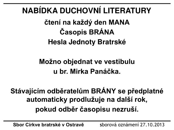 NABÍDKA DUCHOVNÍ LITERATURY