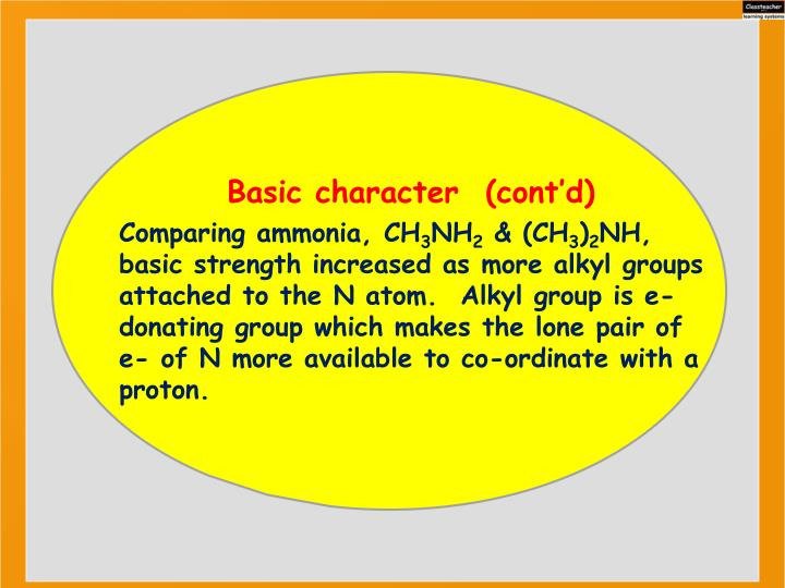 Basic character  (cont'd)