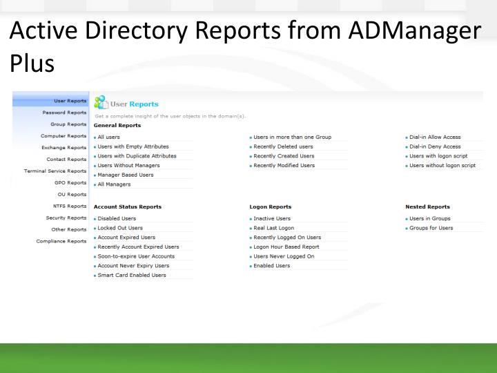 Active Directory Reports from ADManager Plus