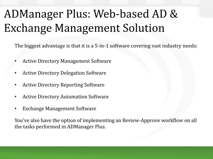 ADManager Plus: Web-based AD & Exchange Management Solution