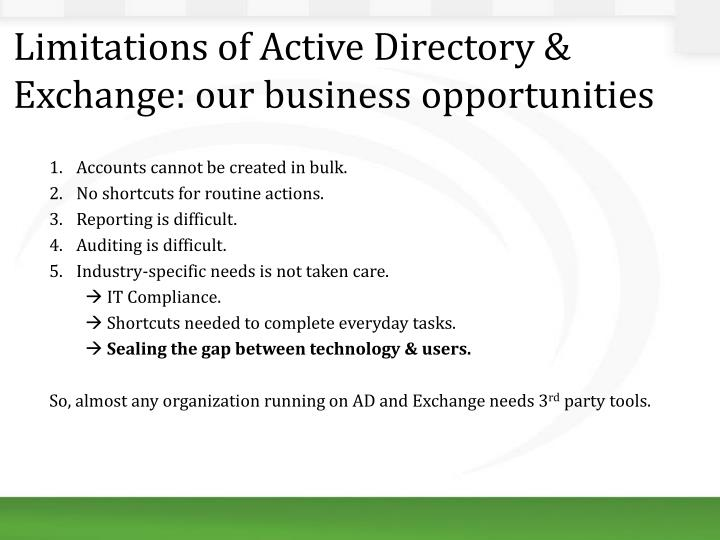 Limitations of Active Directory & Exchange: our business opportunities