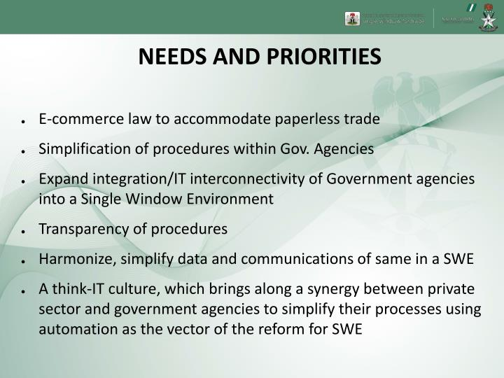 NEEDS AND PRIORITIES