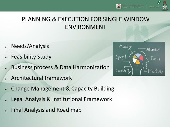 PLANNING & EXECUTION FOR SINGLE WINDOW ENVIRONMENT