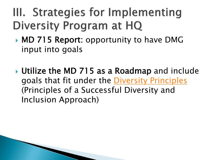 III.  Strategies for Implementing Diversity Program at HQ