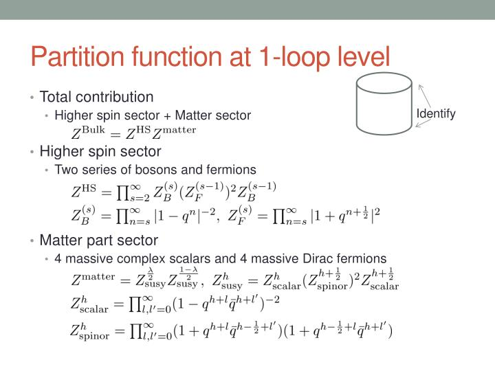 Partition function at 1-loop level