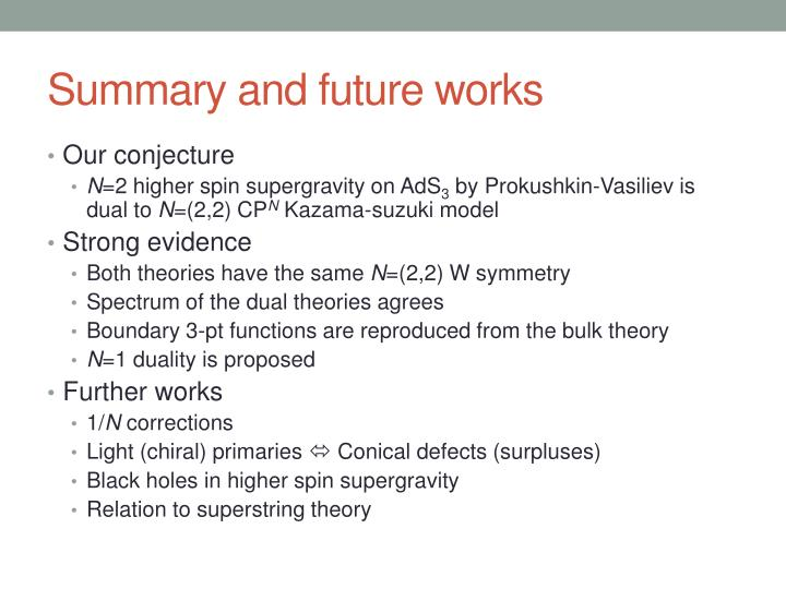 Summary and future works