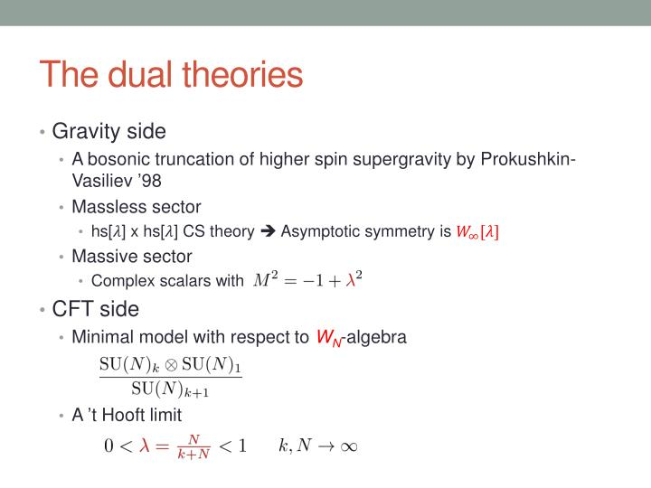The dual theories