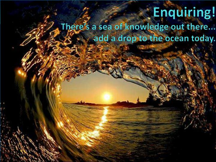 enquiring there s a sea of knowledge out there add a drop to the ocean today n.