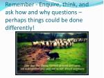 remember enquire think and ask how and why questions perhaps things could be done differently