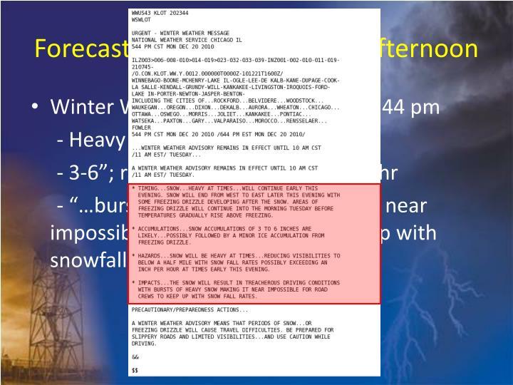 Forecast Timeline - Monday Afternoon