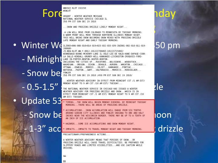 Forecast Timeline – Sunday Afternoon/Evening