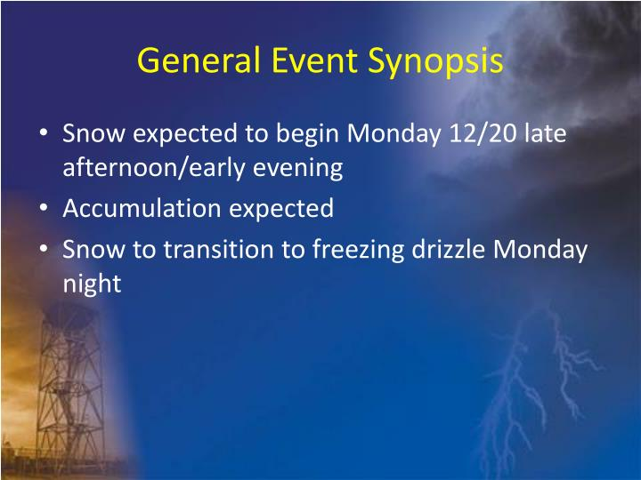 General event synopsis