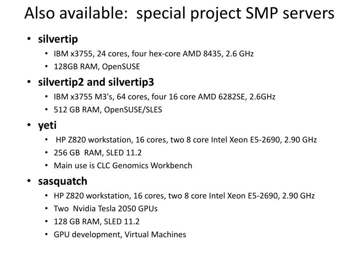 Also available:  special project SMP servers