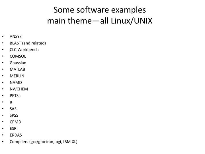 Some software examples