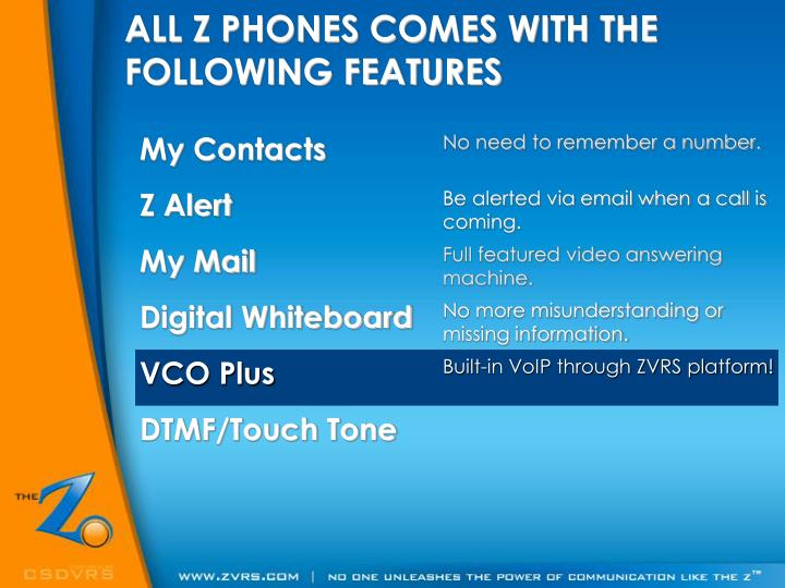 ALL Z PHONES COMES WITH THE FOLLOWING FEATURES
