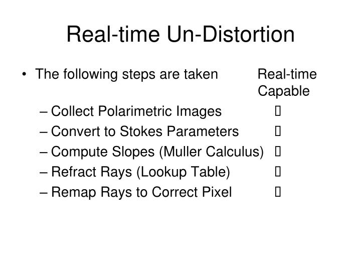 Real-time Un-Distortion