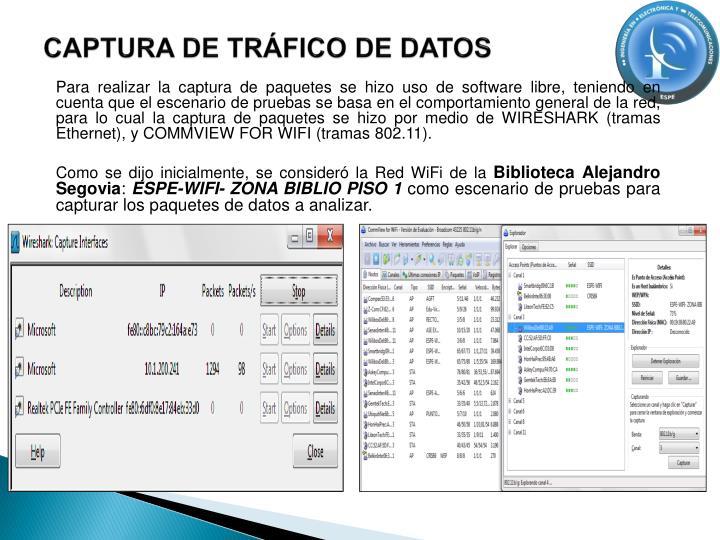 CAPTURA DE TRÁFICO DE DATOS