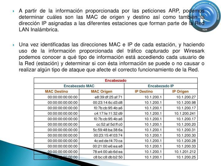 A partir de la información proporcionada por las peticiones ARP, podemos determinar cuáles son las MAC de origen y destino así como también la dirección IP asignadas a las diferentes estaciones que forman parte de la Red LAN Inalámbrica.