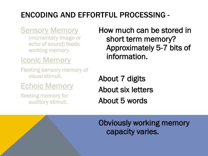 Encoding and effortful processing -