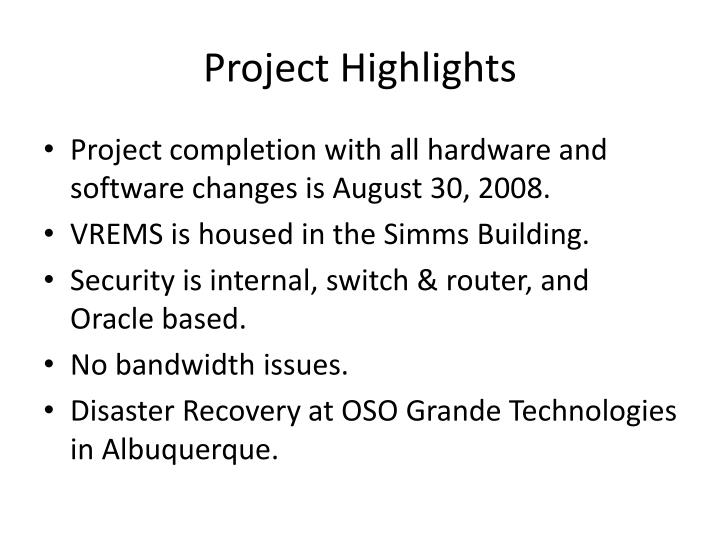 Project highlights1