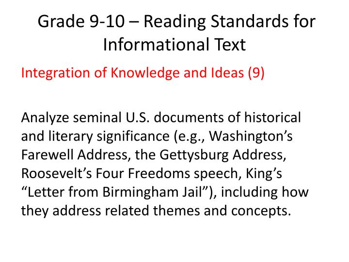 Grade 9 10 reading standards for informational text