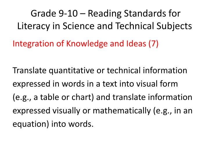 Grade 9-10 – Reading Standards for Literacy in Science and Technical Subjects
