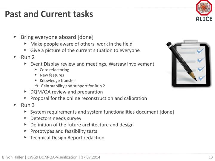 Past and Current tasks