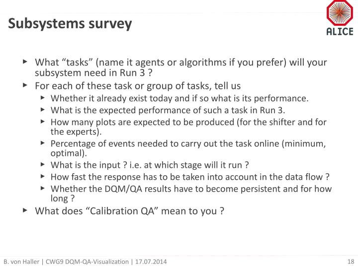 Subsystems survey