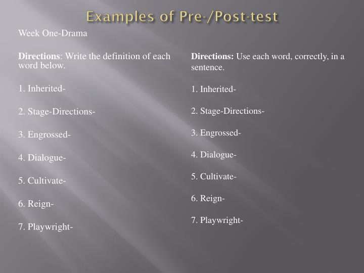 Examples of pre post test