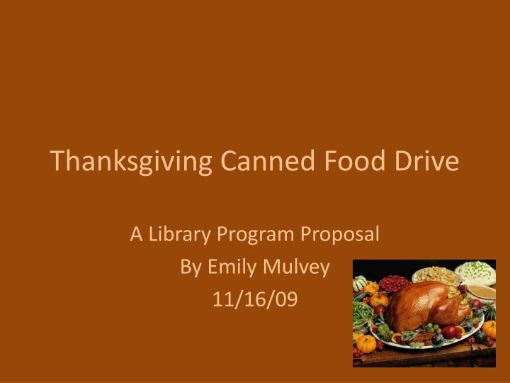 thanksgiving canned food drive n.