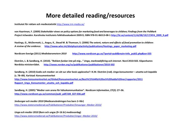 More detailed reading/resources