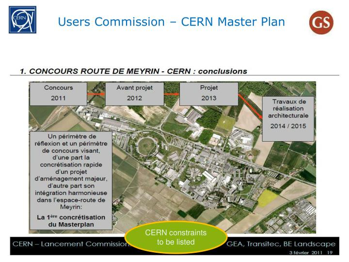 Users Commission – CERN Master Plan
