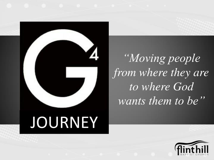 Moving people from where they are to where god wants them to be