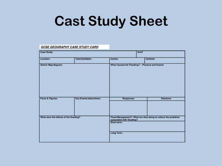Cast Study Sheet