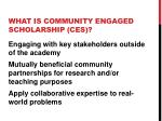 what is community engaged scholarship ces