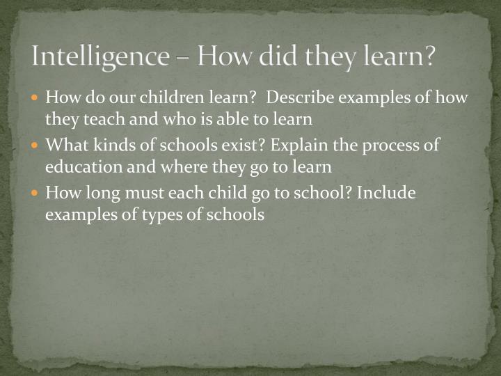 Intelligence – How