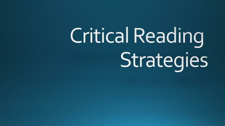 critical reading strategies n.