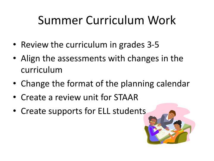 Summer Curriculum Work